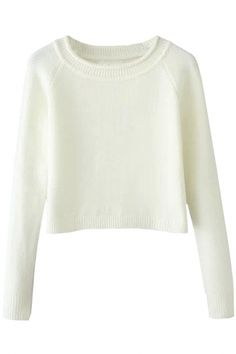 Chic Solid Pullover Crop Sweater - GLAMOURIZE