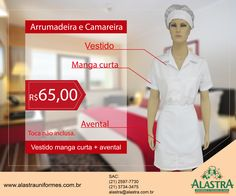 Lindo uniforme branco para camareira e arrumadeira em promoção!