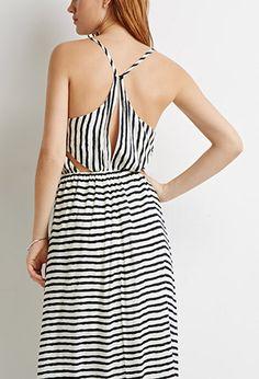 Stripe Cutout-Back Maxi Dress | Forever 21 - 2002247409