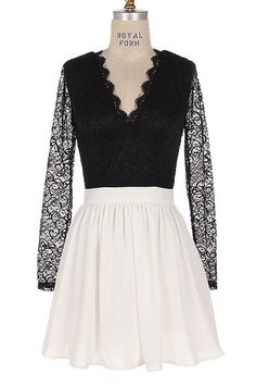 By Candlelight Long Sleeve Lace Dress - Black + White RESTOCK ARRIVES SOON!