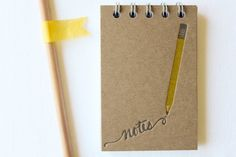 Pencil Note Letterpress Notebook by paperlovelypress on Etsy, $8.00