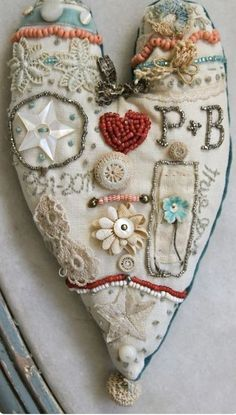 ♡ Your Heart is Mine, Valentine ♡ embroidered heart art Textiles, Beaded Embroidery, Hand Embroidery, Sewing Crafts, Sewing Projects, Fabric Hearts, Heart Crafts, Be My Valentine, Valentine Crafts