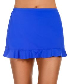 Love this Caribbean Joe Sapphire Ruffle Hem Skirted Bikini Bottoms by Caribbean Joe on #zulily! #zulilyfinds