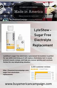 LyteShow's sugar free electrolyte replacement formulation is one of the best electrolyte drinks on the market. American Manufacturing, Get Back To Work, Post Workout, Be Perfect, Sugar Free, Muscle, Lost, Exercise, Ejercicio