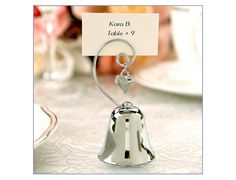 Charming Silver Bell Place Card Holder Favor, Silver Wedding Bells Name Card Holders Malaysia, Singapore
