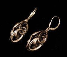Sterling Silver 3 Sided Dangling Double Swirl Leverback Earrings