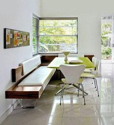 More light to eat by: modern green white wood dining room idea with wooden padded corner banquette bench Corner Banquette, Banquette Seating In Kitchen, Banquette Bench, Dining Room Bench, Kitchen Benches, Dining Nook, Wooden Kitchen, Corner Seating, Corner Bench