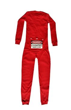"""Kid's Red Union Suit Onesie Pajamas """"DANGER BLAST AREA Keep Clear"""" sign on Rear Flap. Super soft and warm stretchable rib knit cotton union suit onesie pajamas for boys and girls in youth sizes 4 through 12. For superior comfort these pajamas have flat stitching and tag-free labels. This red one piece pajama has red snaps for front closure and features a non-functioning 3 button butt flap that has a printed warning sign that reads: DANGER - BLASTING AREA - KEEP CLEAR.  #bigfeetpjs #sleepwear"""
