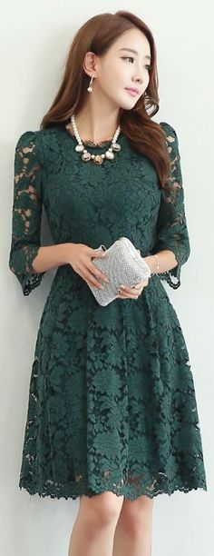 StyleOnme_Floral Lace Quarter Sleeve A-Line Dress #green #floral #flower #lace…