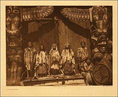 Edward Curtis photo of a Kwakwaka'wakw potlatch with dancers and singers. Kwakwaka'wakw people in a wedding ceremony, bride in centre. Photo taken by Edward Curtis, 1914. Edward Curtis photo of a Kwakwaka'wakw potlatch.