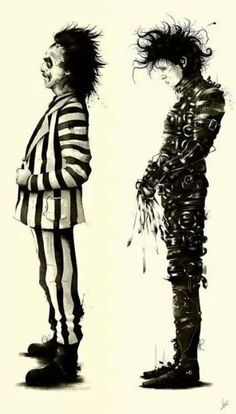 Beetlejuice and Edward Scissorhands Tim Burton Johnny Depp Michael Keaton Art Et Illustration, Illustrations, Halloween Illustration, Tim Burton Kunst, Tim Burton Style, Arte Sketchbook, Arte Horror, Alphonse Mucha, Fan Art