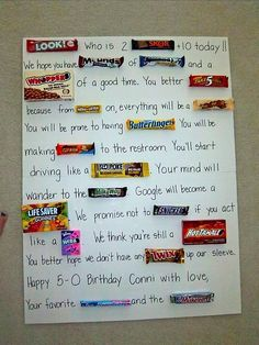50th birthday candy card!!! Fun to make.