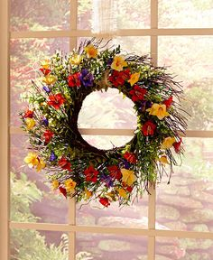 SPRING FLORAL FLOWER WREATH DOOR WALL ART WINDOW LIVING ROOM COUNTRY HOME DECOR #Unbranded