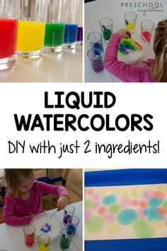 This is a game changer if you love liquid watercolor! Make your own easy and affordable DIY liquid watercolor. I love this recipe for process art activities or if I need watercolor right away! It is the perfect substitute for food coloring and dyes. Plus, liquid watercolor is washable! Preschool Art Activities, Painting Activities, Preschool Projects, Preschool Activities, Preschool Teachers, Homemade Paint, Homemade Slime, Liquid Watercolor, Kids Songs