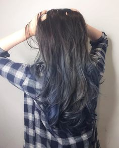 Blue grey ash with ombré Balayage ********** CLEO hair international call here 63385250 for book ...