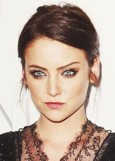 Jessica Stroup- her lips are a bit pursed but I love the golden eyeshadow that compliments her blue eyes beautifully