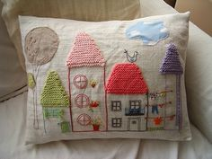 Creative Fabric Applique and Embroidery Designs Turning Pillows into Artworks Embroidery Applique, Cross Stitch Embroidery, Embroidery Patterns, Cushion Embroidery, Knitting Patterns, Fabric Art, Fabric Crafts, Sewing Crafts, Knitting Projects