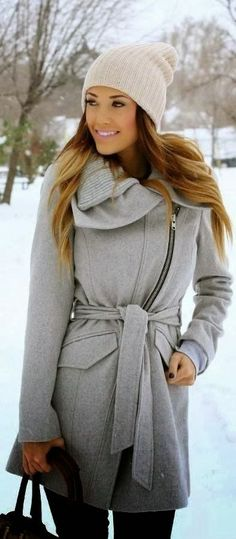 Cute Grey Coat for Winter with Cream Colour Beautiful Hat