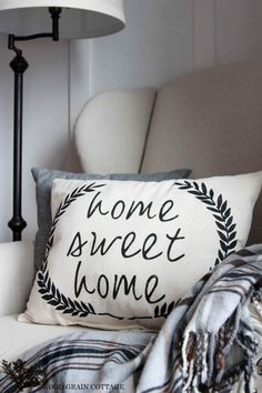 DIY Home Sweet Home Pillow by The Wood Grain Cottage.    Use silhouette and freezer paper