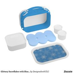 Glittery Snowflakes with Blue Background Yubo Lunchbox