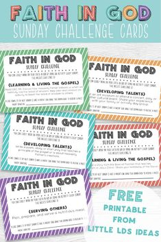 LDS Faith in God Sunday Challenge Cards. Get the Primary children excited about Faith in God. Free printable from Little LDS Ideas. #LDSPrimary #LDSFaithinGod via @https://www.pinterest.com/littleldsideas/