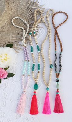Beaded tassel necklaces by Bright new Penny .. all the pretty pinks !