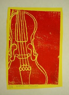 4th grade musical instrument prints.  Start with a contour drawing of an instrument, then experiment with different paper colors and ink colors.  Try rolling 2 colors on one brayer.  Make several copies (a series) and label with print number (i.e. 7/10).