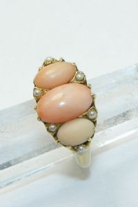 Victorian 18ct gold coral ring hm 1890