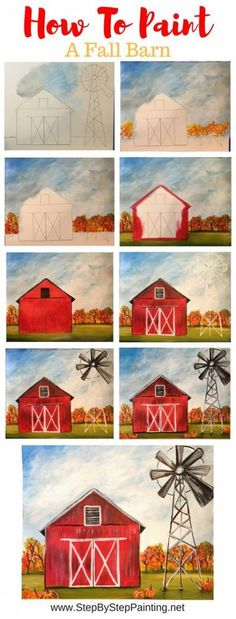 How To Paint A Fall Barn - Step By Step Painting geometric canvas, canvas art kids, painting idea canvas Tole Painting, Diy Painting, Matte Painting, Trippy Painting, Belly Painting, Autumn Painting, Paint And Sip, How To Paint Water, Beginner Painting