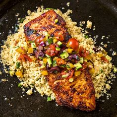 Pan Seared Salmon with Mediterranean Salsa Fresca and Toasted Couscous—simple & seasonal.