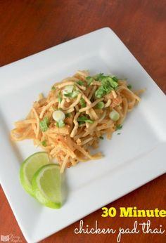 Looking for an easy dinner recipe? This chicken pad thai recipe is so tasty and so easy to make! It's one of my favorite 30-minute dinner recipes.