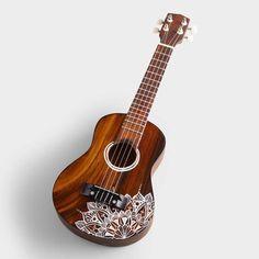 Cost Plus World Market Wood Ukulele with Mandala Design Ukulele Drawing, Arte Do Ukulele, Ukulele Songs, Ukulele Chords, Guitar Painting, Guitar Art, Music Guitar, Mandala Design, Ukelele Painted