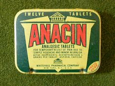 Vintage Anacin Aspirin Tablets Medical Tin