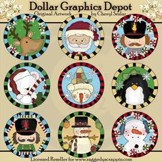 Winter Wonderland Round Templates - Created by Cheryl Seslar - Great for printable crafts, Christmas labels, cupcake toppers, holiday gift jar labels, Jiffy Pop Covers, Candy Kisses Labels, scrapbooking, embroidery patterns, and so much more! www.DollarGraphicsDepot.com