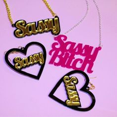Acrylic perspex laser cut name earrings and necklace, very sassy!