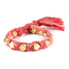 Salmon Vintage Ribbon Large Faceted Beads Knotted Bracelet #boho #ettika #jewelry #accessories  #glam #vintage #sparkle #chic