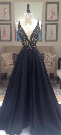 ★Beautiful★Black Beading V-Neck Zipper Prom Dresses 2017