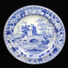 Rare Childs Pearlware Miniature Plate TOWER Spode pre Copeland Staffordshire