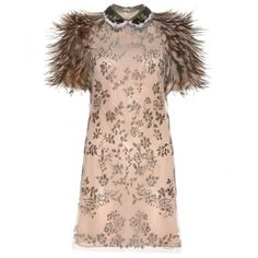 Valentino Bead-Embellished Dress With Feathers ($9,075) ❤ liked on Polyvore featuring dresses, valentino, vestidos, short dress, beige, beige cocktail dress, beaded cocktail dress, feather dress, pink mini dress and short beaded cocktail dresses