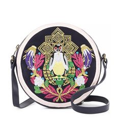 Mary Katrantzou Navy Embroidered Leather Cross-Body Bag