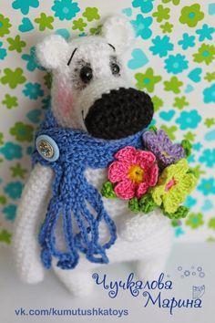 Knitted wonders of Marina Chuchkalova: Bear pozdravishka (description)