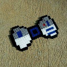 Star Wars R2D2 hair bow - bow tie perler beads by burritoprincessonetsy