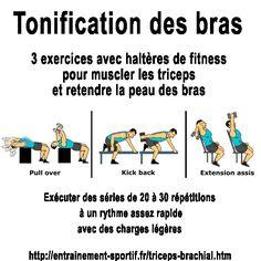 Exercices avec haltères de fitness  pour retendre la peau sous les bras