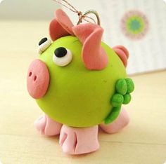 Gluecksschweinchen  Good luck piggy polymer by KarlaSchusterArt, $4.00