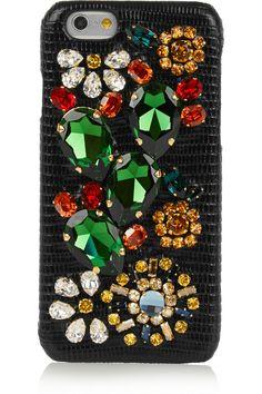c76dd91af7dc Dolce   Gabbana - Swarovski crystal-embellished lizard-effect leather iPhone  6 case