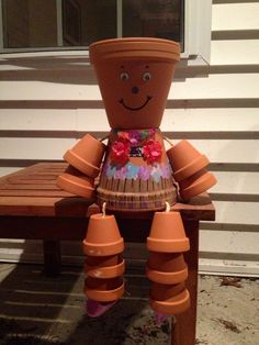 My little flower pot girl! Plant the head with your favorite flower. Makes for a supper cute garden decoration.