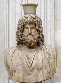 Jupiter (Zeus) Serapis, Roman-Egyptian bust (marble), copy after Hellenistic original, 2nd century AD (original 4th c. BC), (Musei Vaticani, Vatican City).