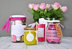 4 Muttertag Geschenke im Glas und in der Dose mit Rosen