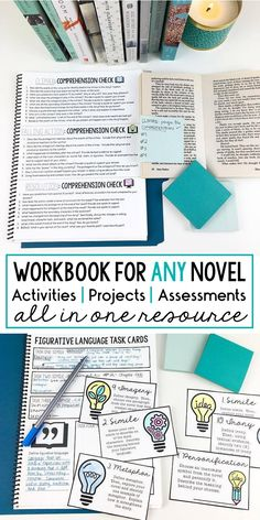 Interactive workbook for ANY novel | middle and high school ELA | Fiction Unit | 62+ pages | All in one resource