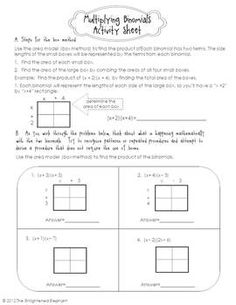 FREE Multiply Binomials Activity Sheet